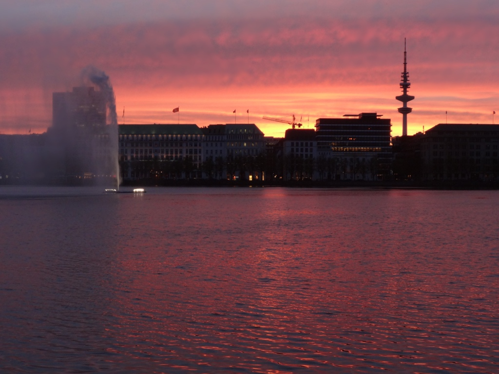 Sunset over Hamburg Harbour