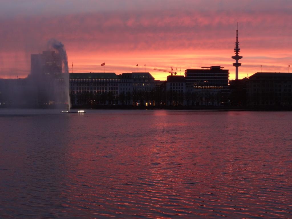 Sunset over Hamburg Harbour