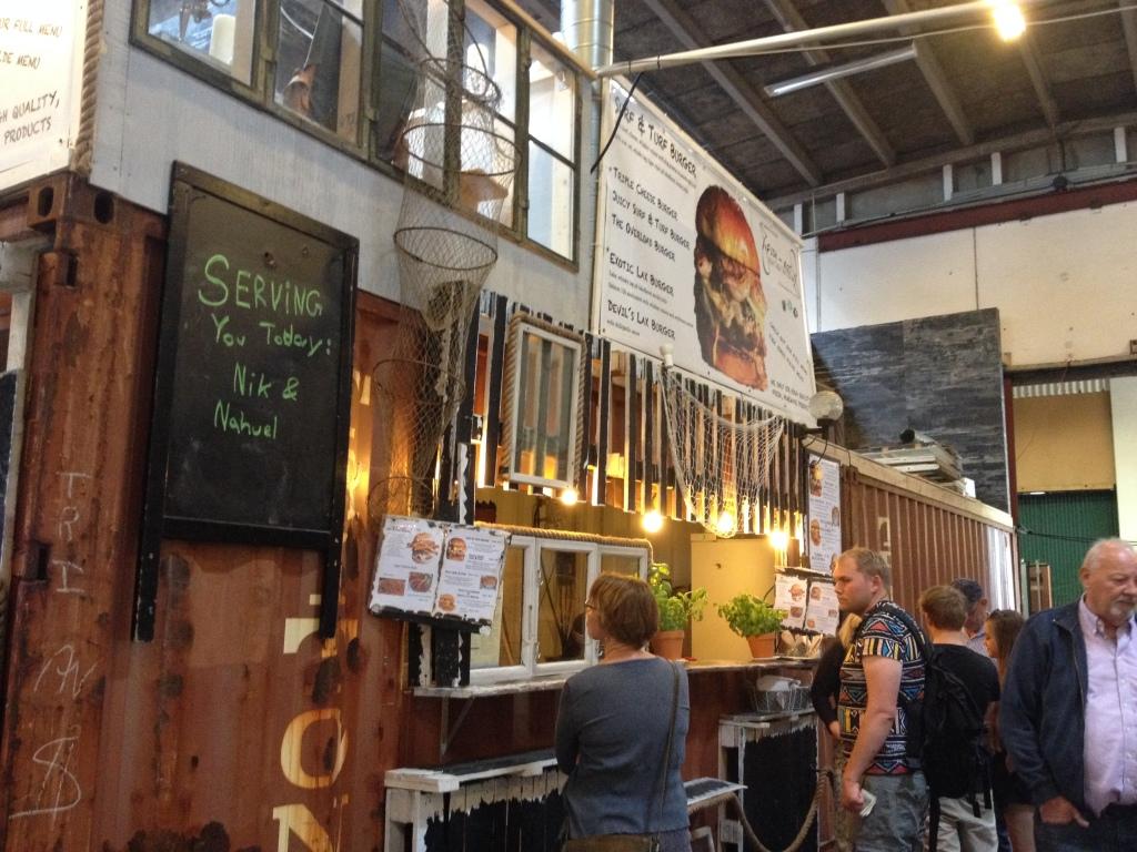Burger stall at street food.